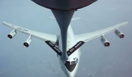 NATO E-3 Sentry AWACS aircraft close call with a KC-135 Stratotanker.