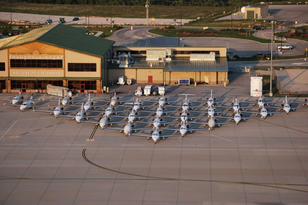 43 Eclipse 550 Jets together on the tarmac at Branson Airport for the Eclipse Owners Club Fall Fly-In. (Photo by Branson Airport)