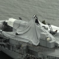 Photo shows Space Shuttle Enterprise's failed protective bubble and broken tail, the only yet-known damage the aircraft received.