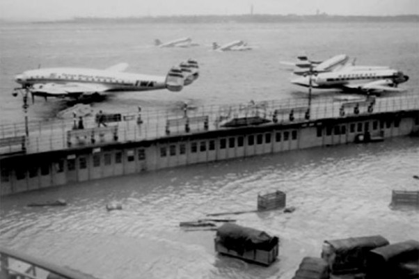 LaGuardia Airport was severely flooded by a Nor'easter on November 25, 1950. (Photo by Queens Borough Public Library)