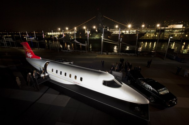 Learjet 85 mockup parked next to the USS Intrepid. (Photo by Jason Tinacci)