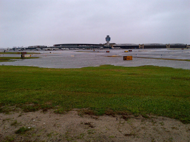 Rising waters at LaGuardia Airport ahead of Hurricane Sandy. (Photo by Port Authority)