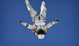 Felix Baumgartner during a Red Bull Stratos test jump. (Photo by Red Bull Stratos)