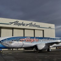 Alaska Airlines reveals its fish-patterned Boeing 737-800 (N559AS) dubbed &quot;Salmon-Thirty-Salmon II.&quot; (Photo by Alaska Airlines)