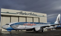 "Alaska Airlines reveals its fish-patterned Boeing 737-800 (N559AS) dubbed ""Salmon-Thirty-Salmon II."" (Photo by Alaska Airlines)"