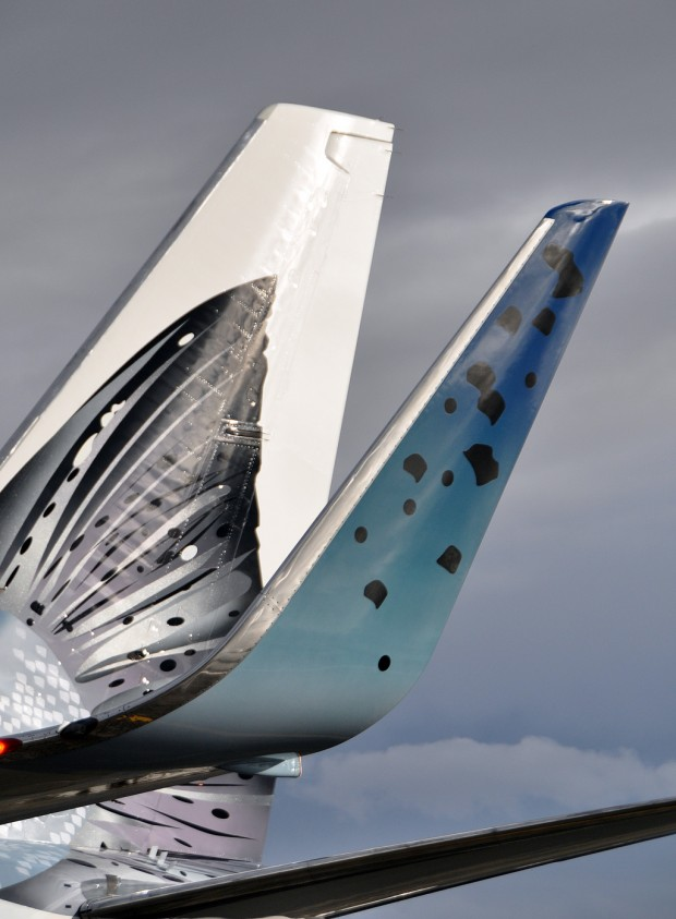 Even the winglets on Salmon Thirty Salmon II are covered in scales. (Photo by Alaska Airlines)