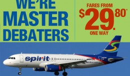 Spirit email ad (top) and a Spirit Airbus A320 (bottom). (Composite by NYCAviation)