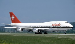 A Swissair Boeing 747-300 at Zurich. (Photo by Eduard Marmet via Wikipedia)