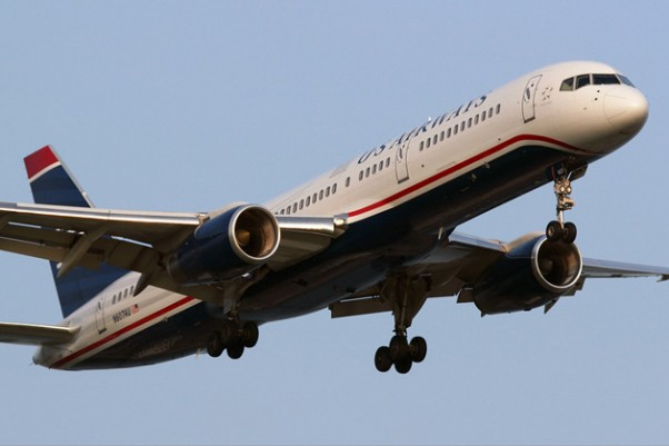 A US Airways Boeing 757 landing in Philadelphia. (Photo by Brian Futterman)
