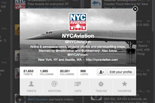 @NYCAviation reached 20,000 followers on Saturday, November 10, 2012.