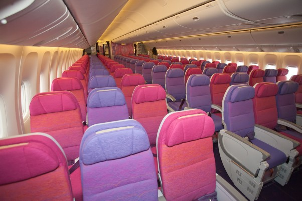 Purple haze onboard Thai Airways Boeing 777-300ER. (Photo by Liem Bahneman/NYCAviation)