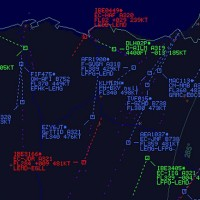 Screen showing air traffic over Spain.