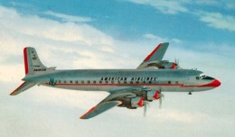 Vintage postcard featuring an American Airlines Douglas DC-7.