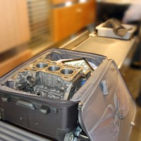 Ford Ecoboost 1.0L 3-cylinder engine block in a carry-on. (Photo by Ford)