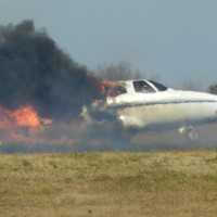 The Cessna Citation II (N6763L) was destroyed aft of the cockpit. (Photo by Alfred Langley via WSPA)
