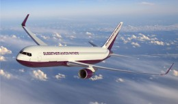 Artist's rendering of a Guggenheim Aviation Partners Boeing 767-300BCF. (Rendering by Boeing)
