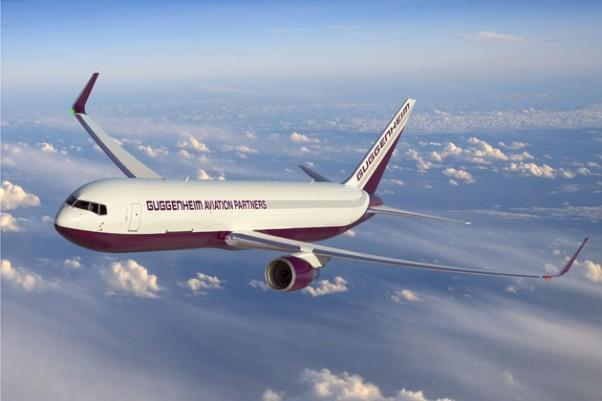 Artist&#039;s rendering of a Guggenheim Aviation Partners Boeing 767-300BCF. (Rendering by Boeing)