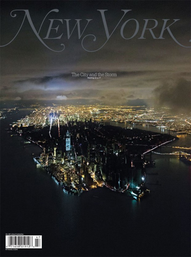 "Full New York Magazine Hurricane Sandy Cover, ""The City and the Storm."" (Photo by Iwan Baan/New York Magazine)"