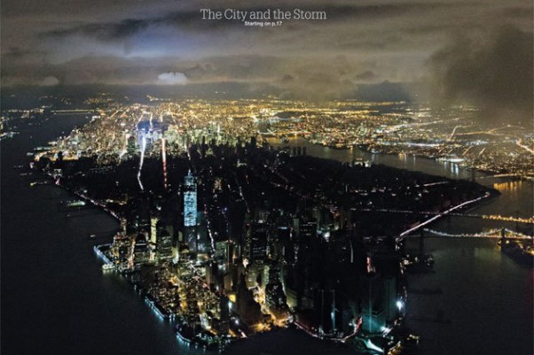 "New York Magazine's Hurricane Sandy cover, ""The City and the Storm."""