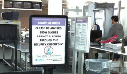 This TSA sign about snow globes is no longer true, but there are still restrictions. (Photo by Scott Beale via Flickr, CC-BY-NC-ND)