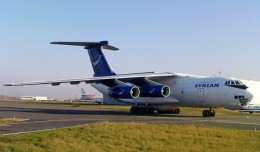 This is Syria&#039;s only operational Ilyushin Il-76 transport aircraft (YK-ATA), seen here at Paris-Le Bourget Airport in 2009. It may have been used to transport Mil Mi-25 attack helicopters to Syria from Russia through Iraqi airspace. (Photo by twin-otter64 via Flickr, CC-BY-NC-SA)