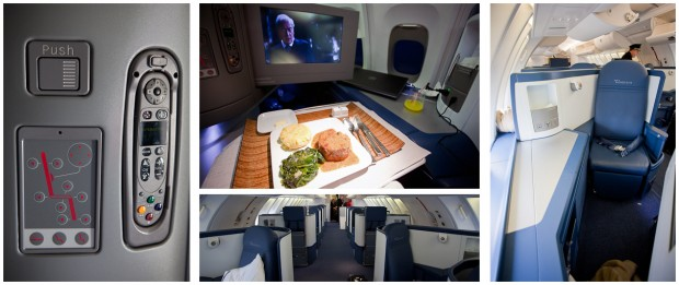 Delta BusinessElite seating aboard a Boeing 747-400. (Photos by Jeremy Dwyer-Lindgren/NYCAviation)