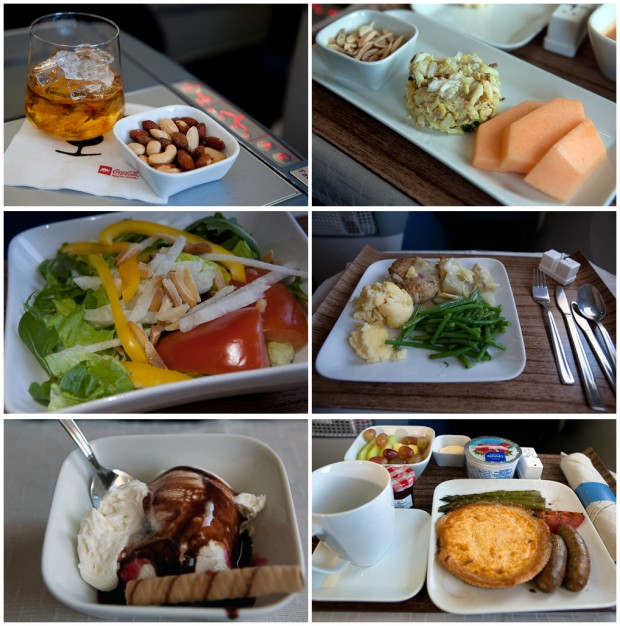 Meal service on our Delta Seattle-Osaka flight. (Photo by Jeremy Dwyer-Lindgren/NYCAviation)