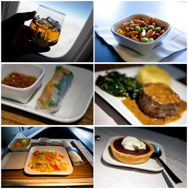 BusinessElite meal service aboard our Delta Tokyo-Detroit flight. (Photo by Jeremy Dwyer-Lindgren/NYCAviation)