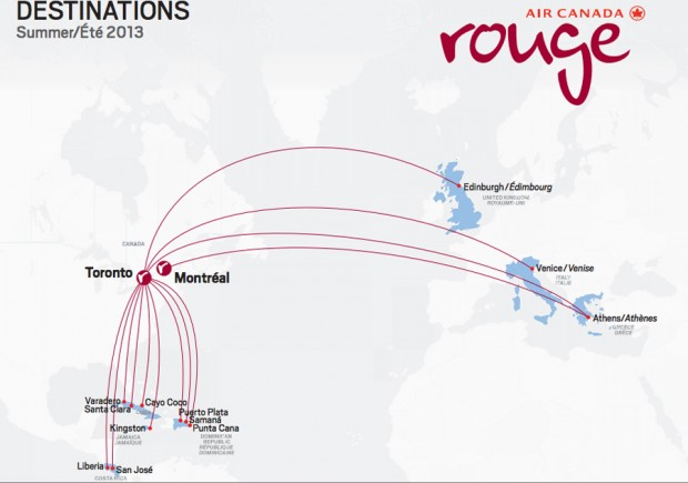 Rouge route map. (Map by Air Canada rouge)
