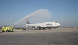 Lufthansa&#039;s first 747-8I service to Los Angeles gets a water cannon salute. (Photo by Stephen Shrank/NYCAviation)