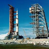 A Saturn V rocket awaits its launch from pad 39A on the Apollo 11 moon mission. (Photo by NASA)