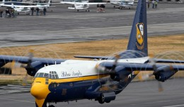 Fat Albert takes off during a performance in a rainy Seattle in 2010. Photo by author