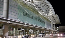 San Francisco International Airport terminal at night. (Photo by Hkan Dahlstrm via wikimedia, CC-BY)