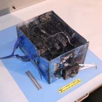 Another angle of are the burnt Boeing 787 battery that caught fire in Boston. (Photo by NTSB)