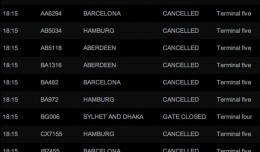 A January 20 snapshot of London Heathrow departure cancellations.