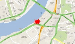 Crash site along the River Thames in London. (Map by NYCAviation/Google Maps)