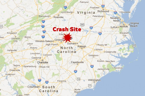 The crash site was about 5 miles north of Burlington-Alamance Regional Airport, from which the plane had departed a few minutes earlier. (Map by NYCAviation/Google Maps)