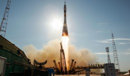 The Soyuz TMA-04M rocket launches from the Baikonur Cosmodrome in Kazakhstan on Tuesday, May 15, 2012 carrying Expedition 31 Soyuz Commander Gennady Padalka, NASA Flight Engineer Joseph Acaba and Flight Engineer Sergei Revin to the International Space Station. (Photo by NASA/Bill Ingalls)