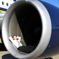 Relaxing in the engine of a 767 after landing in Romania in 2007. Oh, and the engine wasn't on.