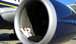 Relaxing in the engine of a 767 after landing in Romania in 2007. Oh, and the engine wasn&#039;t on.