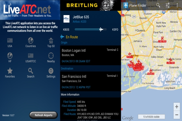 The essential plane spotter apps: LiveATC, FlightAware, Planefinder