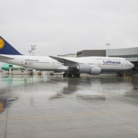 Lufthansa D-ABYI 747-8I at Everett Delivery Center. Credit: Boeing