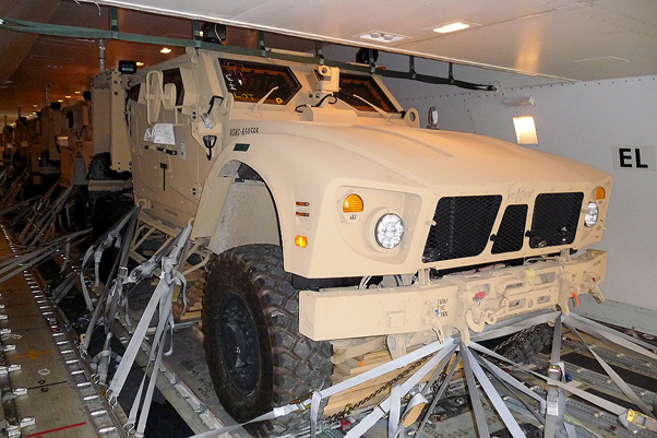 Multiple MRAP vehicles strapped inside of a 747-400 in a similar way to that of the National Air 102 crash.