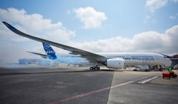 The Airbus A350 starts its engines for the firs time