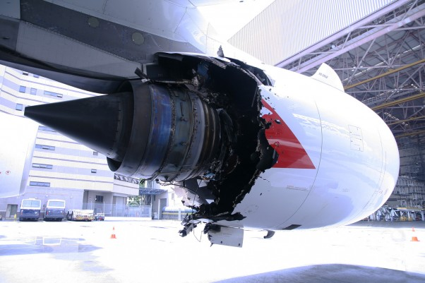 The number 2 engine of VH-OQA, which sustained an uncontained failure