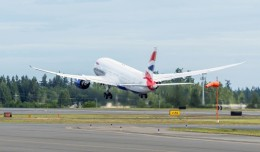 The first British Airways 787 departing Paine Field