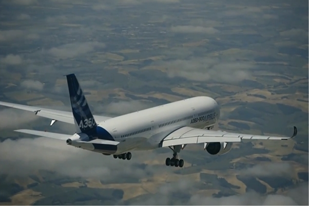 A350 First Flight air to air shot. Credit: Airbus Youtube Video