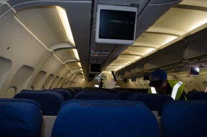 Watch your head: The IFE screens dropped down, limiting headroom as JetStream employees did their thing