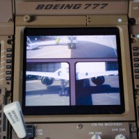 On board cameras on a Boeing 777-300ER displayed on the flight deck