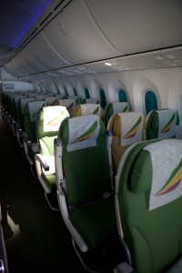 Photo showing the rear of the passenger cabin on an Ethiopian 787, the approximate area where a fire occurred in London. Credit: Jeremy Dwyer-Lindgren